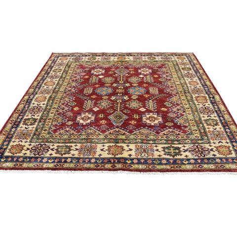 "Shahbanu Rugs Pure Wool Caucasian Design Hand-Knotted Super Kazak Square Rug - 5'0"" x 5'2"""
