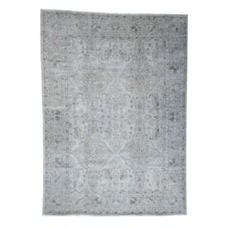 "Shahbanu Rugs Silver Wash Peshawar Pure Wool Hand-Knotted Oriental Rug - 9'10"" x 13'7"""