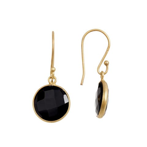 18K Gold plated Sterling Silver Round Circle Black Onyx Gemstone Drop Earrings