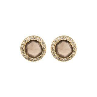 18K Gold plated Sterling Silver Round Smokey Quartz Gemstone & Cubic Zirconia Stud Earrings