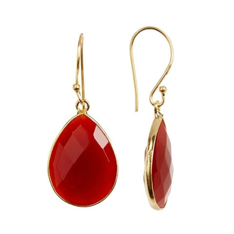 18K Gold plated Sterling Silver Teardrop Carnelian Gemstone Drop Earrings