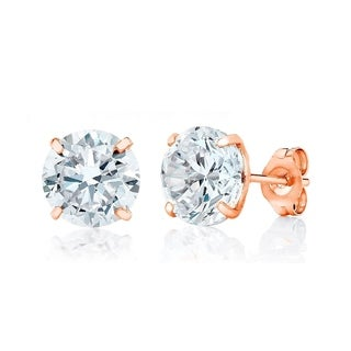 18K Rose Gold plated Sterling Silver 7MM Round-cut Genuine Cubic Zirconia Stud Earrings