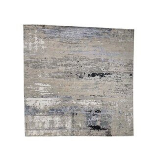 """Shahbanu Rugs Hand-Knotted Abstract Design Wool and Silk Hi-Lo Pile Square Oriental - 9'10"""" x 10'0"""""""