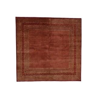 "Shahbanu Rugs Sarouk Mir Wide Orange Vintage Overdyed Square Oriental Rug - 6'6"" x 6'8"""