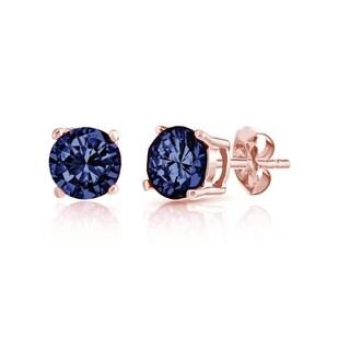 18K Rose Gold plated Sterling Silver Round-cut London Blue Topaz Gemstone Stud Earrings