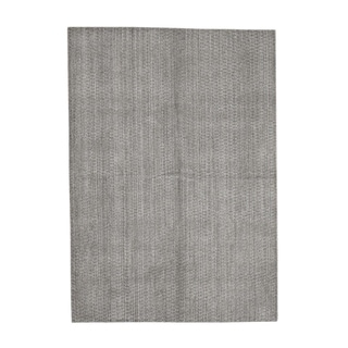 "Shahbanu Rugs Grey Pure Wool Tone on Tone Hand Loomed Oriental Rug - 5'0"" x 7'0"""