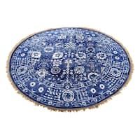 "Shahbanu Rugs Hand-Knotted Wool and Silk Tabriz Tone on Tone Round Oriental Rug - 6'1"" x 6'1"""