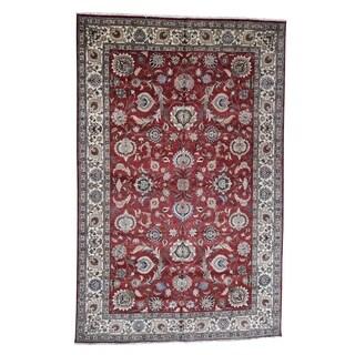 "Shahbanu Rugs Semi Antique Persian Tabriz Oversize All Over Design Oriental Rug - 11'6"" x 17'7"""