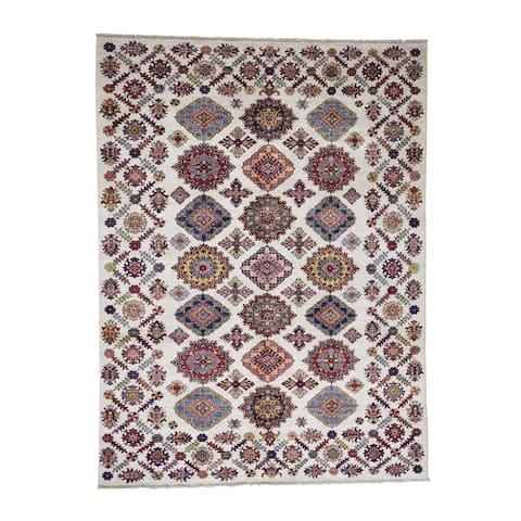"Shahbanu Rugs Caucasian Design Super Kazak Pure Wool Hand-Knotted Oriental Rug - 6'1"" x 8'0"""