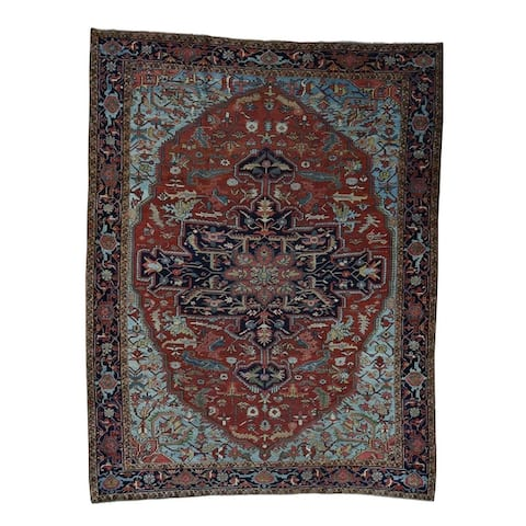 """Shahbanu Rugs Antique Persian Heriz Exc Cond Circa 1910 Hand-Knotted Oriental Rug - 9'9"""" x 13'1"""""""