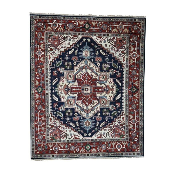 Hand Knotted Heriz Wool Fine Persian Oriental Area Rug: Shop Shahbanu Rugs Hand-Knotted Tribal Design Pure Wool