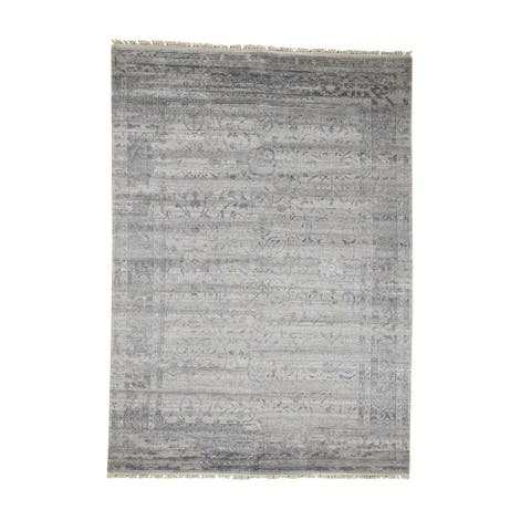 "Shahbanu Rugs Wool and Silk Agra Broken Design Hand-Knotted Oriental Rug - 5'10"" x 8'1"""
