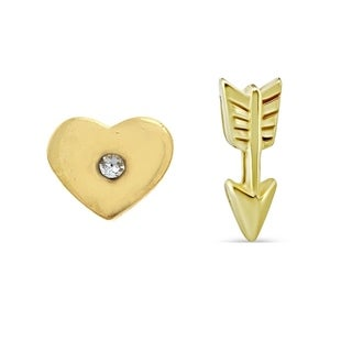 Pori Jewelers 18K Gold Ptd Sterling Silver Cupid Heart & Arrow Mix&Match Stud Earrings