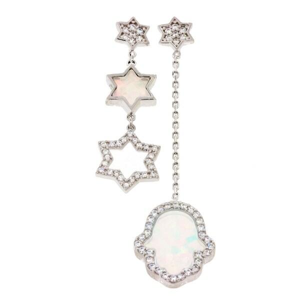 White Opal Star .925 Sterling Silver Earrings