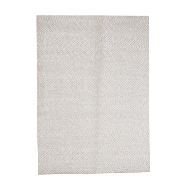 "Shahbanu Rugs Hand-Loomed Tone on Tone Pure Wool Oriental Rug - 5'0"" x 7'0"""