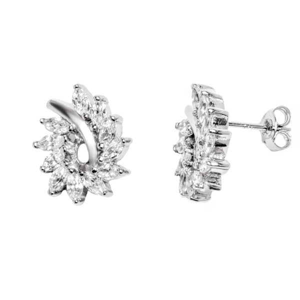 Rhodium Plated Sterling Silver Halo Stud Earrings With Cubic Zirconia