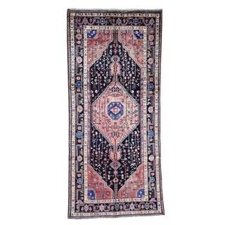 "Shahbanu Rugs Semi Antique Persian Nahavand Hand-Knotted Wide Runner Oriental Rug - 5'1"" x 11'0"""