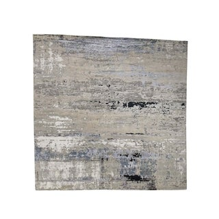"""Shahbanu Rugs Abstract Design Wool and Silk Square Hand-Knotted Oriental Rug (12'1"""" x 12'1"""") - 12'1"""" x 12'1"""""""