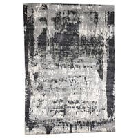 "Shahbanu Rugs Hand-Knotted Abstract Design Hi-lo Pile Wool And Silk Oriental Rug - 9'0"" x 12'2"""