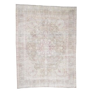 "Shahbanu Rugs Hand-Knotted White Wash Kerman Vintage Sheered Low Oriental Rug - 9'8"" x 13'2"""