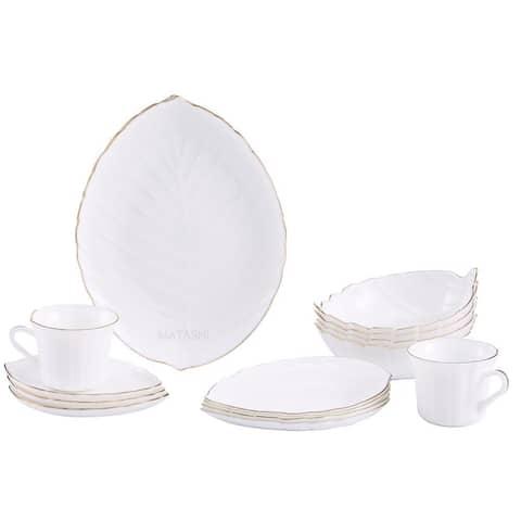 Matashi MTD13207G Vine Collection Opal 20-Piece Glassware Dinnerware Set - Service for 4 (Choose Gold Rimmed or No Rim)