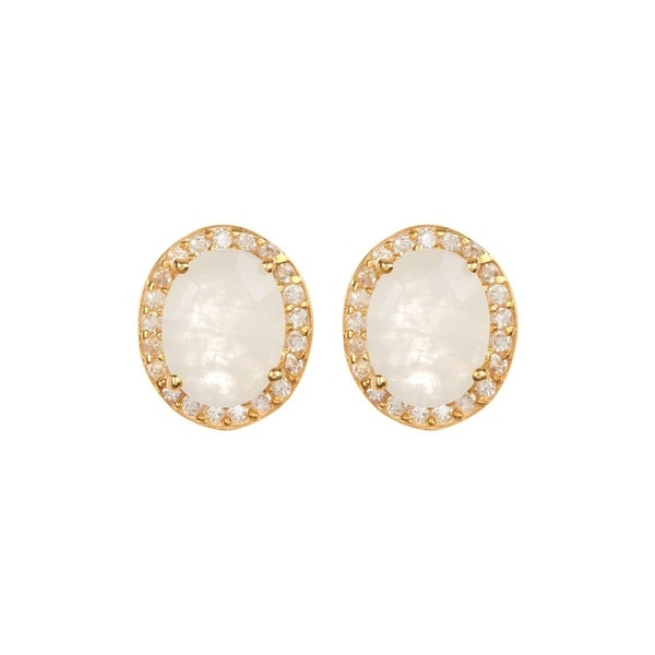 aa5d666d1e 18K Gold plated Sterling Silver Oval Moonstone Gemstone & Cubic  Zirconia Stud Earrings