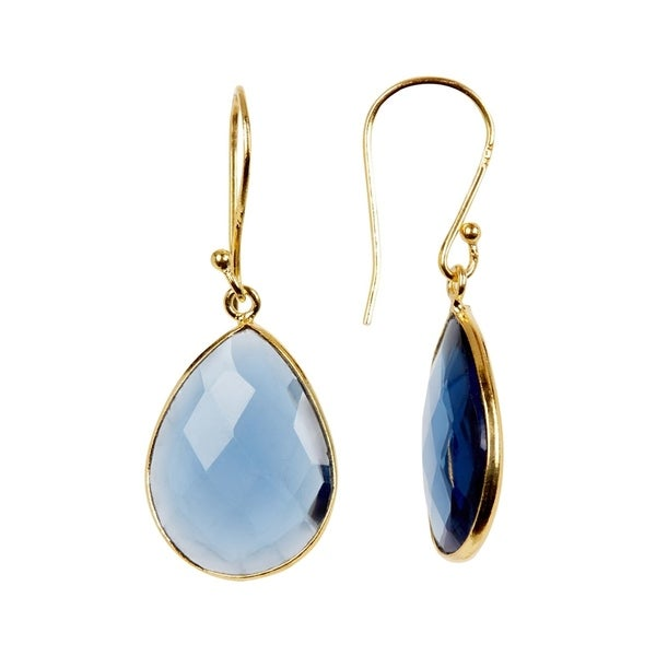 e4e225b58 Shop 18K Gold plated Sterling Silver Teardrop Blue Hydro Gemstone Drop  Earrings - On Sale - Free Shipping On Orders Over $45 - Overstock - 20633799