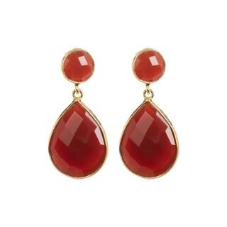 18K Gold plated Sterling Silver 2-Drops Teardrop Carnelian Gemstone Earrings