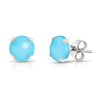 Sterling Silver Round-cut Turquoise Gemstone Stud Earrings