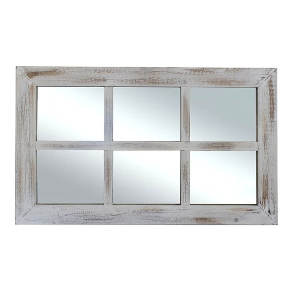 shop farmhouse rustic white windowpane mirror free shipping today