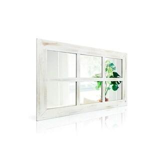 Farmhouse Rustic White Windowpane Mirror - Antique White - A/N