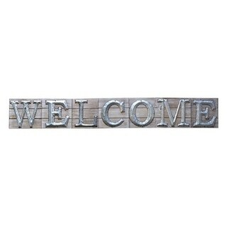 "Rustic Farmhouse ""Welcome"" Wood and Metal Wall Sign"
