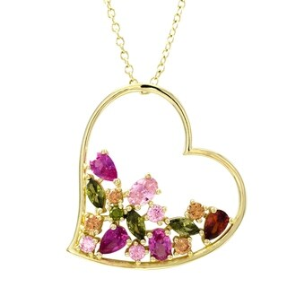Luxiro Sterling Silver Gold Finish Lab-created Ruby with Multi-color CZ's Women's Open Heart Pendant - Pink