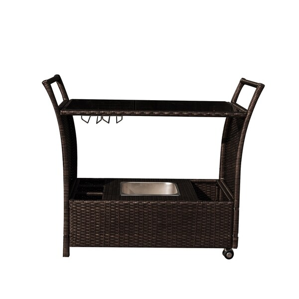 Outdoor Bar Cart - Rolling Resin Wicker Bar for Pools and Patios