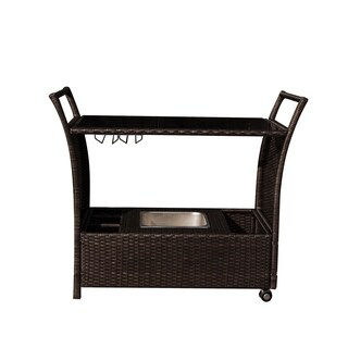 Outdoor Wicker Patio Bar Serving Cart