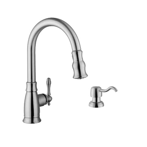 Traditional Pull-Down Kitchen Faucet with Dispenser in Brushed Nickel
