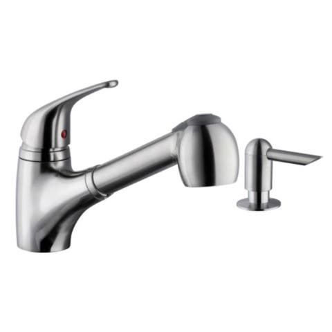 Low Profile Pull-Out Kitchen Faucet with Dispenser in Brushed Nickel