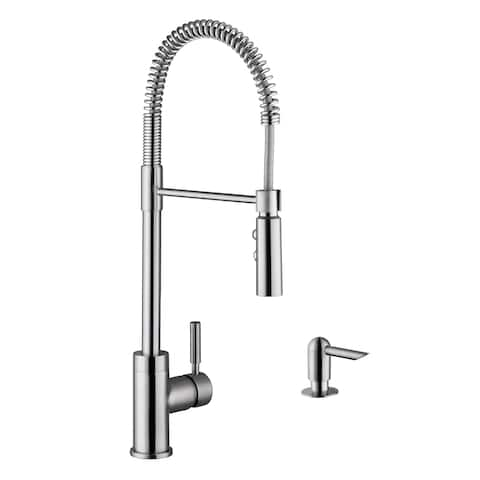 Industrial Pull-Down Kitchen Faucet with Dispenser in Brushed Nickel