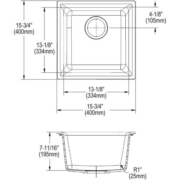 "Elkay Quartz Classic 15-3/4"" x 15-3/4"" x 7-11/16"", Single Bowl Dual Mount Bar Sink.. - 15-3/4 x 15-3/4 x 7-11/16"