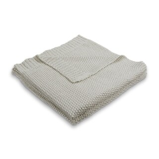 "LR Home Sweater Natural Sparkle Knitted Throw Blanket ( 50"" x 60"" )"