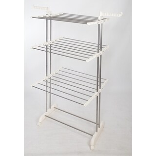 idee Collapsible Height-Adjustable-Rack Rolling 3-Tier Laundry Drying Rack with Durable Stainless-Steel Hanging Rods, PDR22LG
