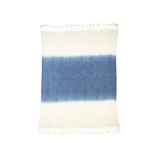 "LR Home Shibori True Navy Ombre Slub Throw Blanket ( 50"" x 60"" )"