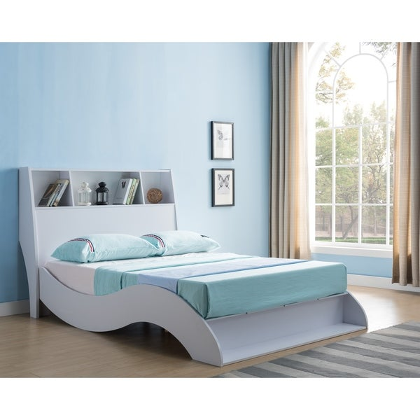 Tara White Platform Bed with Headboard