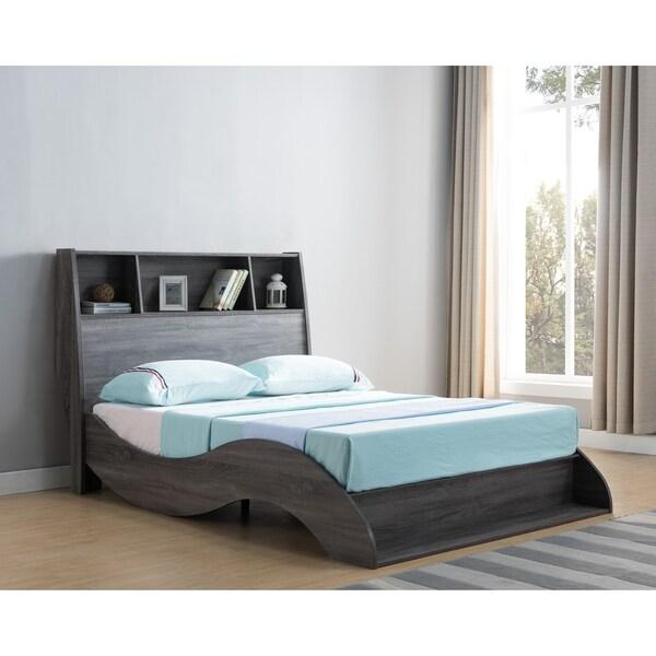 Sage Distressed Grey Platform Bed with Headboard