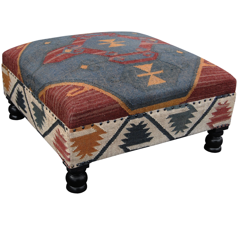 Handmade Herat Oriental Tribal Kilim Upholstered Ottoman (India) (Kilim Handwoven Large Ottoman)