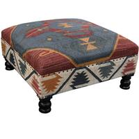 Handmade Herat Oriental Tribal Kilim Upholstered Ottoman (India)