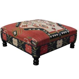 Handmade  Tribal Kilim Upholstered Ottoman (India)