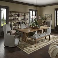 Paloma Reclaimed Wood Rectangular Dining Set with Grey Cotton Chairs by iNSPIRE Q Artisan