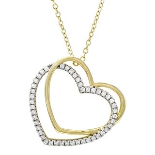 Link to Luxiro Sterling Silver Two-tone Finish Cubic Zirconia Double Open Heart Pendant Necklace - White Similar Items in Necklaces