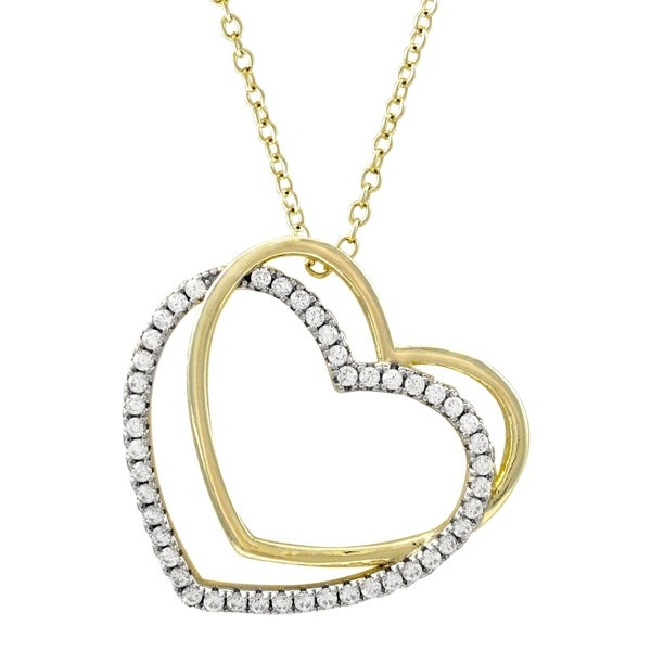 Luxiro Sterling Silver Two-tone Finish Cubic Zirconia Double Open Heart Pendant Necklace - White. Opens flyout.
